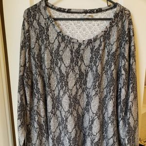 Cato - grey patterned long sleeve top 18/20W